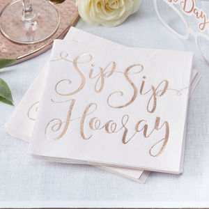 Rose Gold Foiled Sip Sip Hooray Wedding Paper Napkins - napkins & napkin holders