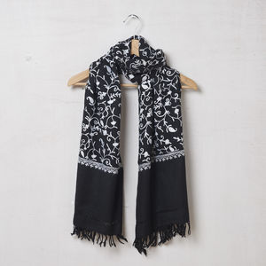 Pure Pashmina Wool Scarf Embroidered White On Black