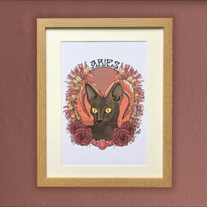 Aries Cat Star Sign Zodiac Print - drawings & illustrations