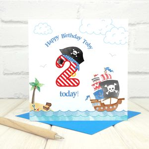 Personalised 2nd Birthday Pirate Card