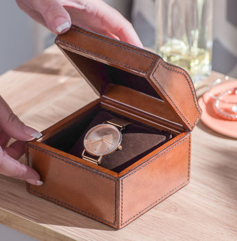 Personalised Ladies Leather Watch Box With Curved Lid