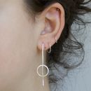 Handmade Long Silver Circle Earrings