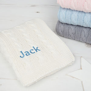 Personalised Baby Luxury Cable Blanket - sleeping