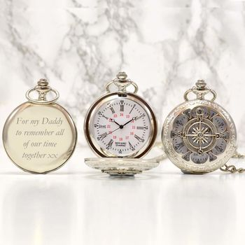 Personalised Silver Pocket Watch Compass Design