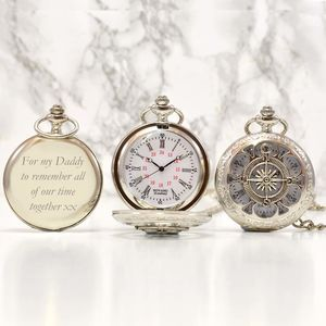 Personalised Silver Pocket Watch Compass Design - watches