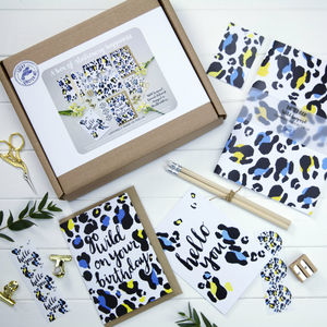 A Box Of Stationery Happiness Leopard Print - gifts for friends