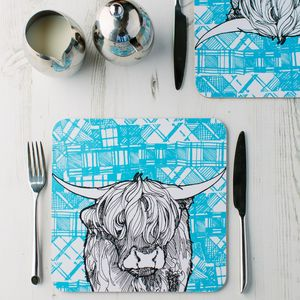 'Tartan Coo' Scottish Highland Cow Placemats