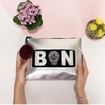 Personalised Silver Beauty Bag