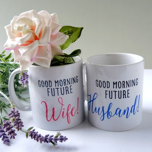 Personalised Future Husband And Wife Pair Of Mugs