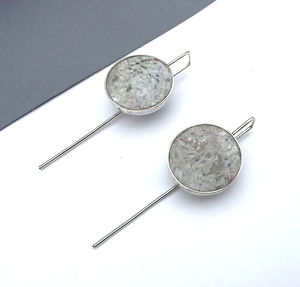 'Receipt Marble' Silver Hook Earrings - earrings