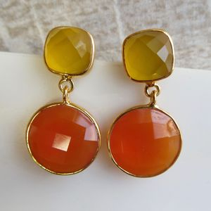 Yellow And Vermilion Chalcedony Earrings - earrings