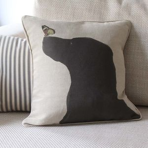 Black Labrador Feature Cushion - patterned cushions