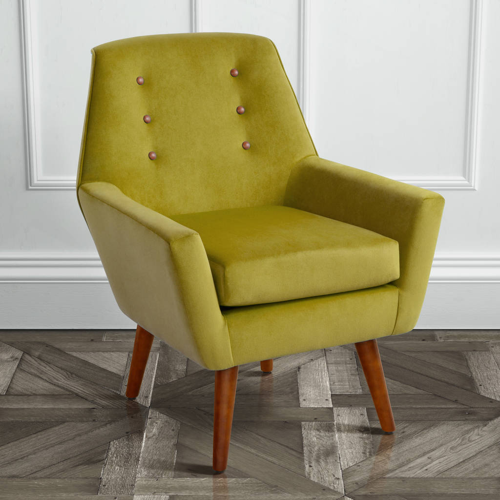 Retro Velvet Armchair With Walnut Legs