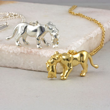 Lioness Mother And Baby Necklace