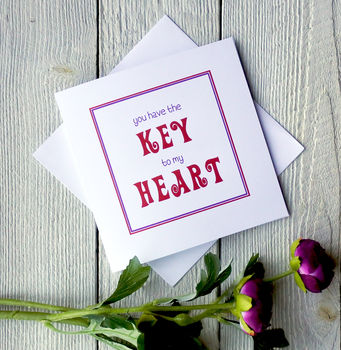 Key To My Heart Personalised Greetings Card
