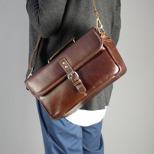 Personalised Brown Leather Camera Bag