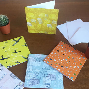 Pack Of Five Printed Greeting Cards