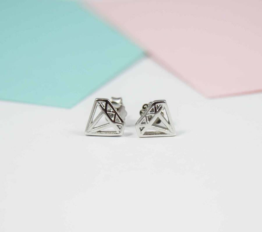 silver front diamond stud shaped earrings sterling pav us pave products metalsmiths