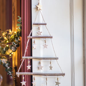 Hanging Tree With Gold Star Decorations - christmas trees