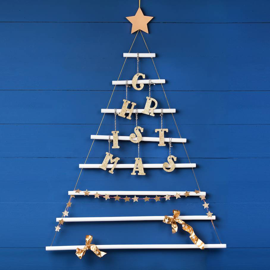 White Wooden Hanging Christmas Tree With Gold Star By