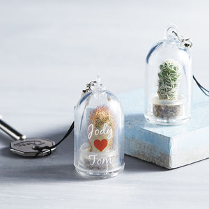 Personalised Mini Terrarium Cactus Keychain - valentine's gifts for him
