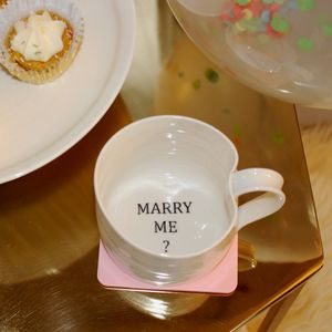 'Marry Me?' Hand Thrown Porcelain Mug