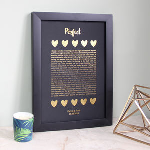 Metallic Song Lyrics Print Valentines Gift