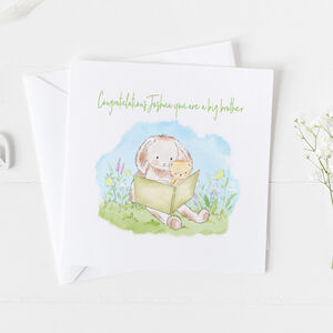 Big Brother New Baby Card Christening Card ..V2a20