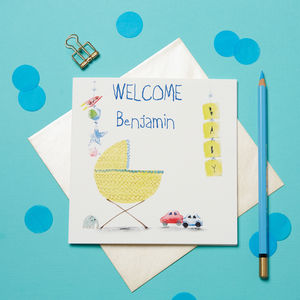 Personalised New Baby Card For Boys - new baby cards