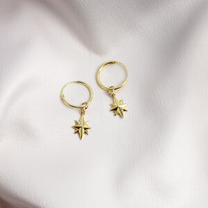 North Star Charm Hoop Earrings Silver Or Gold