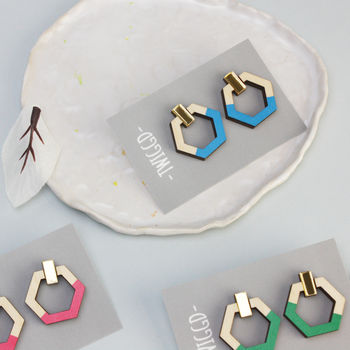 Dash Hoop Stud Earrings