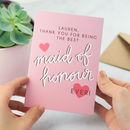 Personalised Thank You Card for Maid of Honour