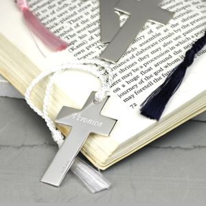 Personalised Silver Cross Bookmark - book-lover