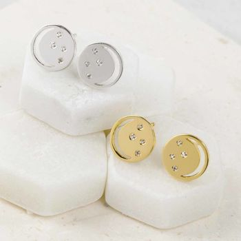 Sterling Silver Eclipse Studs With White Topaz