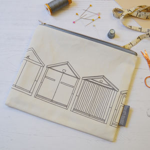 Beach Hut Fabric Pouch - make-up & wash bags