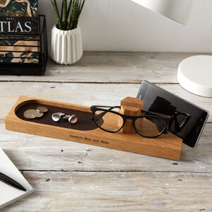Personalised Glasses And Phone Stand With Stash Tray