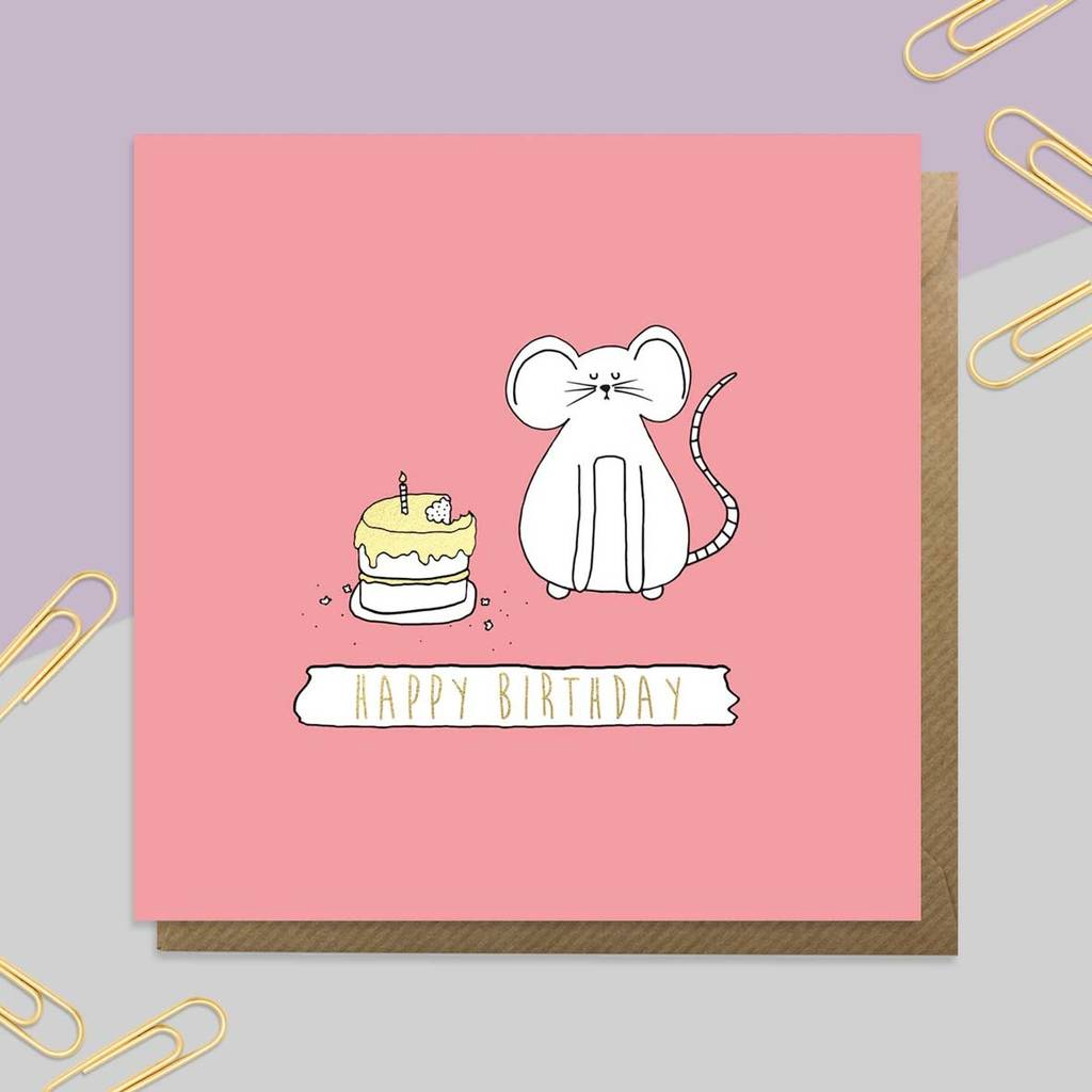 Gold Foil Mouse Birthday Card