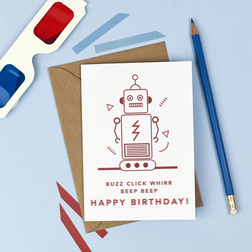 3d Robot Birthday Card By Kate And The Ink