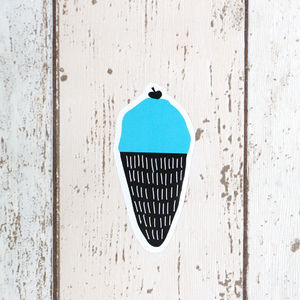 Small Blue Ice Cream Wall Sticker - wall stickers
