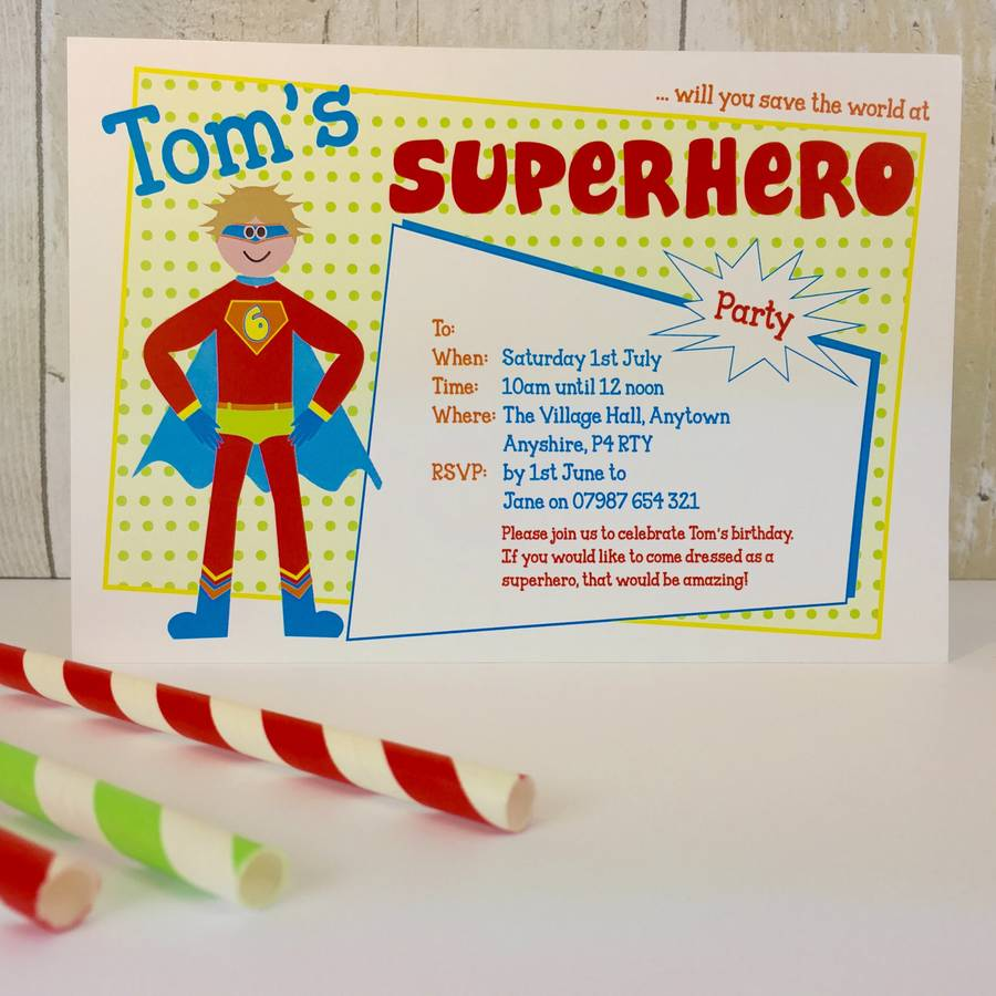 16 Superhero Party Invitations Or Thank You Cards