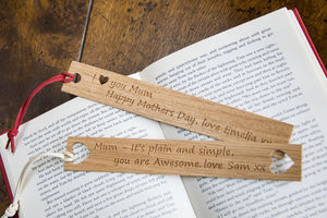 Mothers Day Gift Oak Bookmark