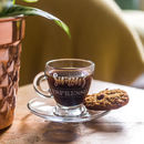 Personalised Engraved Glass Espresso Cup And Saucer