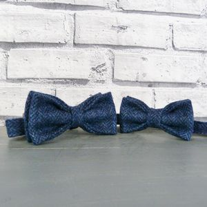 Father And Son Herringbone Tweed Bow Tie Set