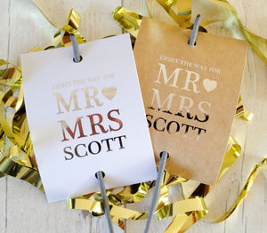 Set Of 12 'Mr And Mrs' Wedding Sparkler Covers - table decorations