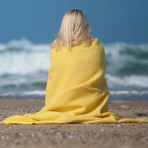 Yellow Or Blue Twill Wool Throw