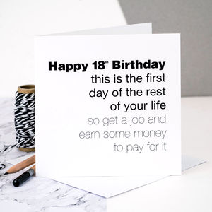 18th Birthday Card 'This Is The First Day…' - birthday cards