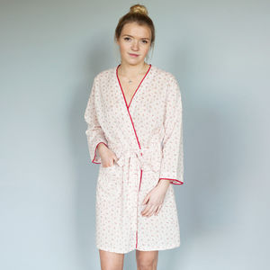 Cotton Short Robe In Cherry Sprigs Print - women's fashion