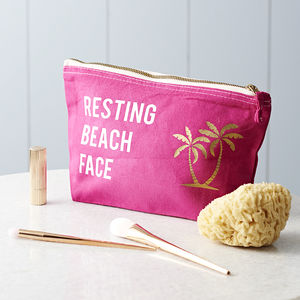 Resting Beach Face Slogan Make Up Bag - tropical accessories