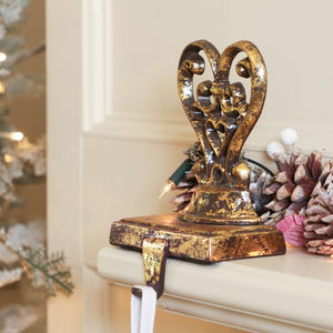 Antique Gold Heart Cast Iron Stocking Holder - snow globes & ornaments