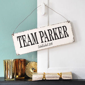 Personalised Family Team Sign - personalised gifts for families